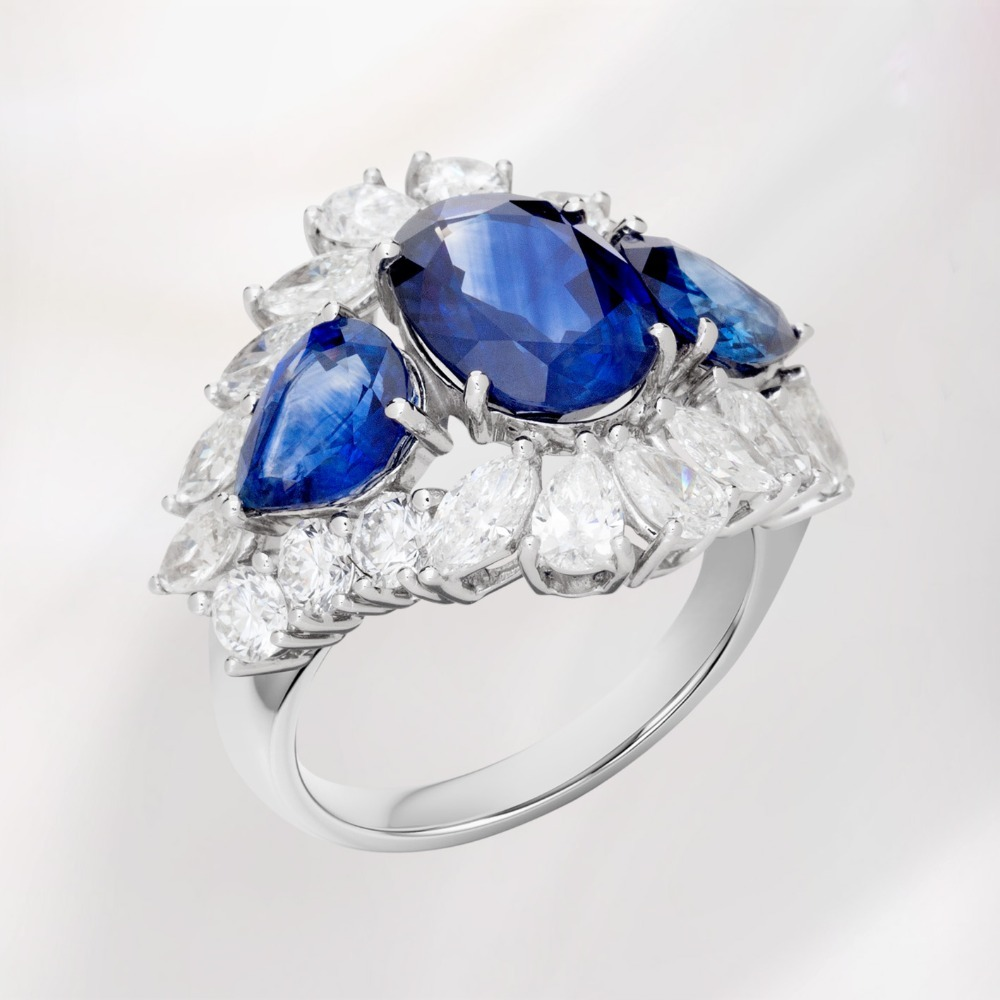 Blue Sapphire and Diamond Fancy Ring