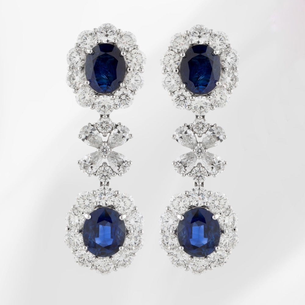Blue Sapphire and Diamond Earring