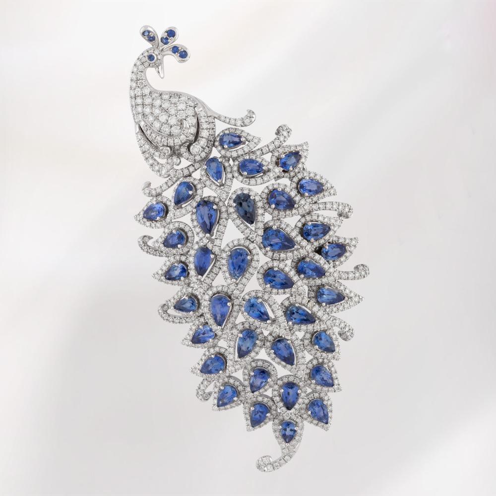 Blue Sapphire and Diamond Brooch