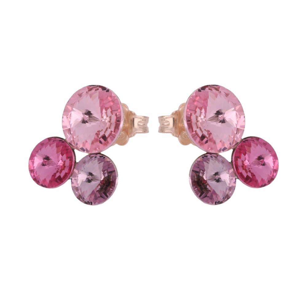 Orecchini con galvanica rosa