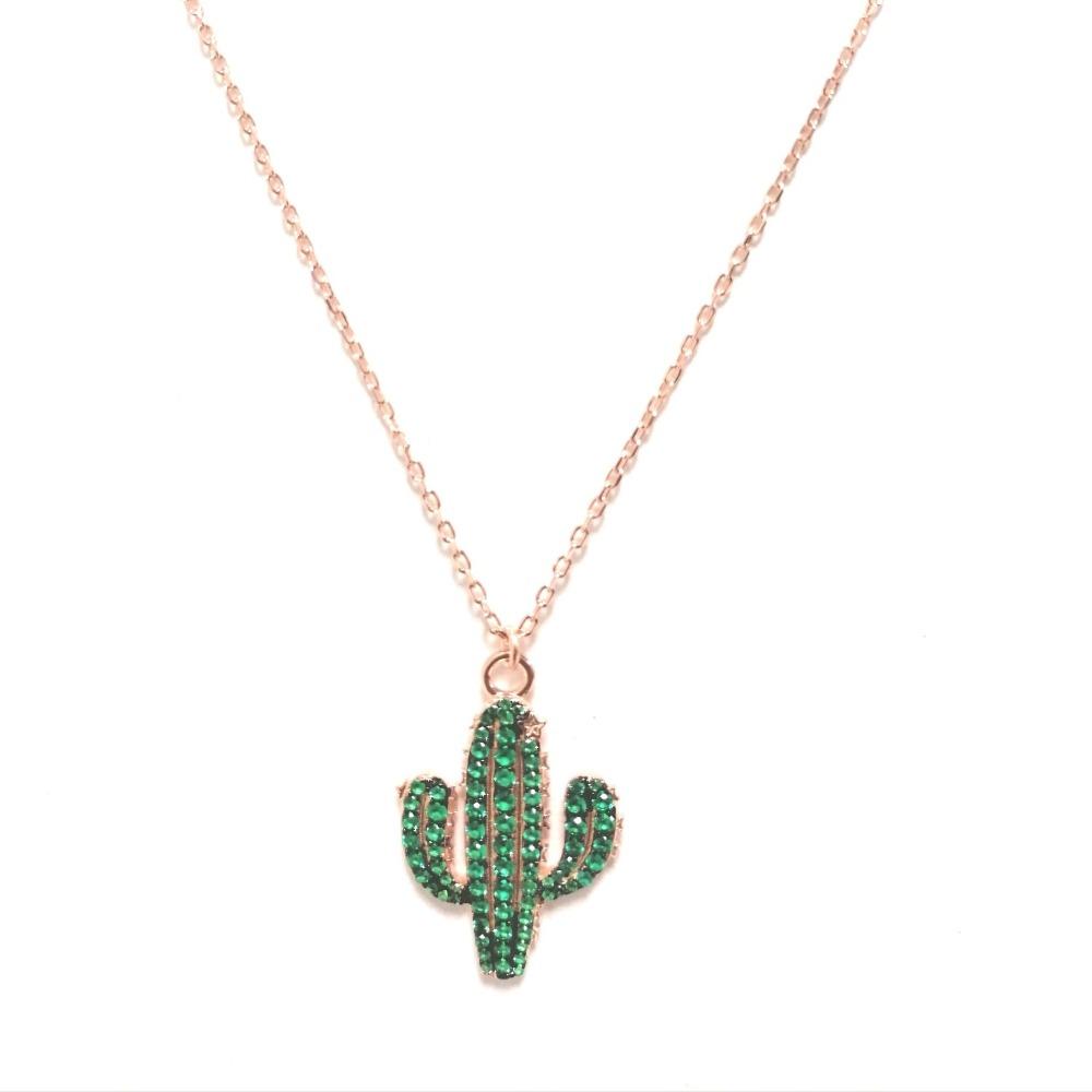 Collana con ciondolo cactus e zirconi verdi