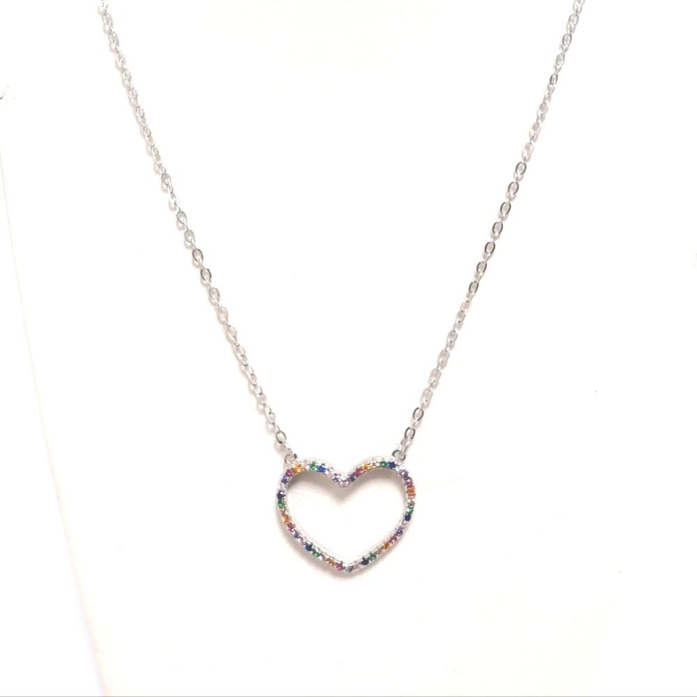Collana argento ciondolo cuore e zirconi multicolor ag 925
