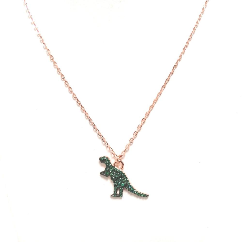 Collana rosa con ciondolo dinosauro e zirconi verdi ag 925