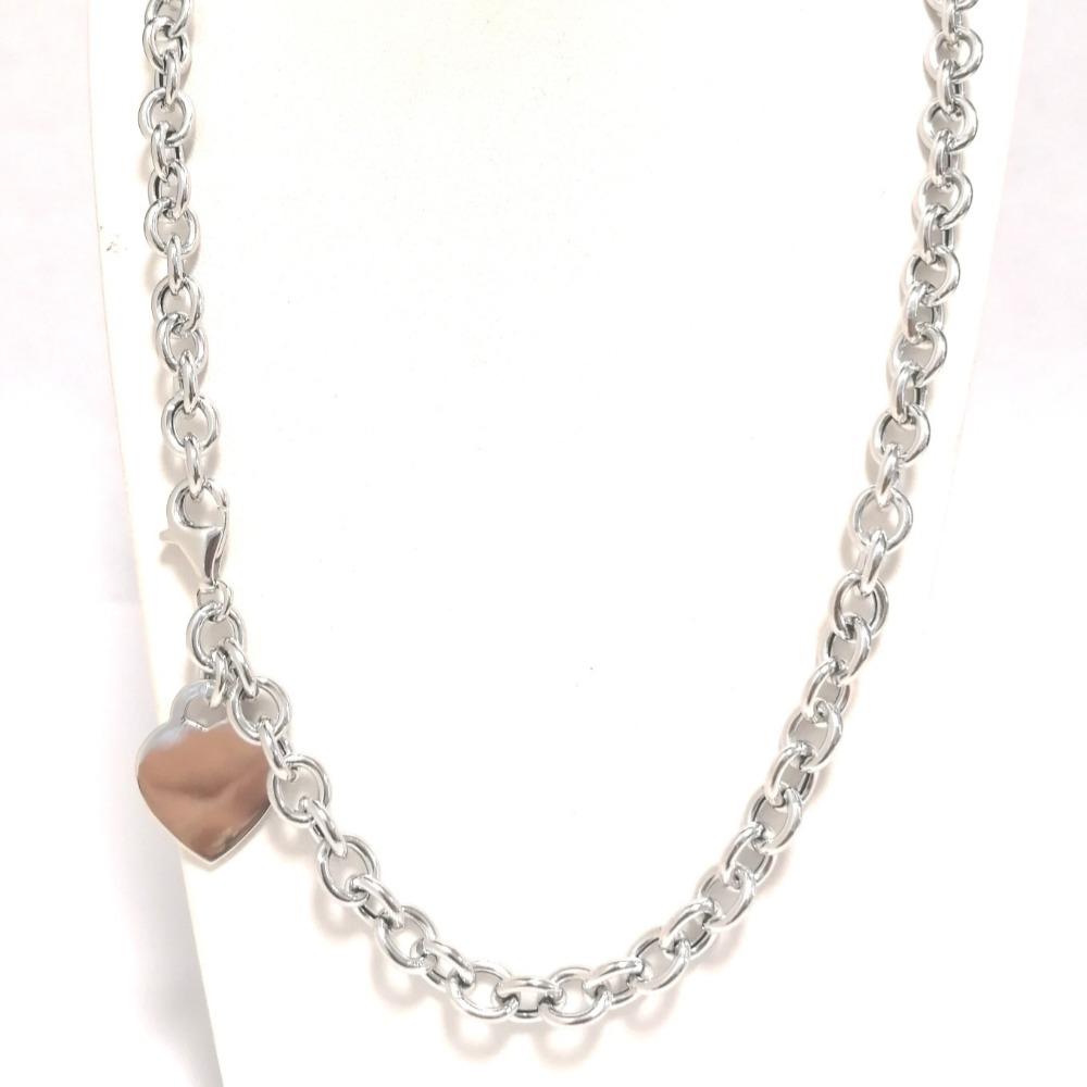 Collana argento rolò piccola con ciondolo a cuore ag 925