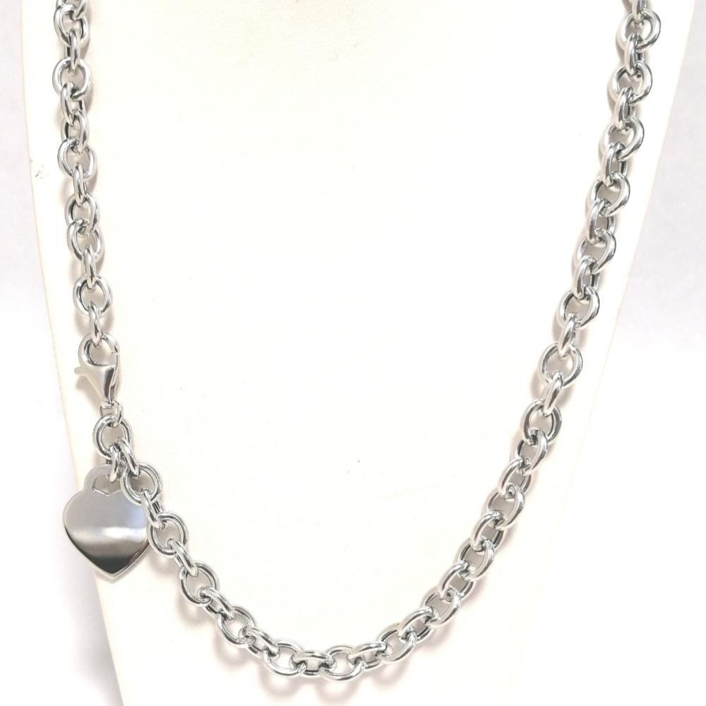 Collana argento rolò media con ciondolo a cuore ag 925