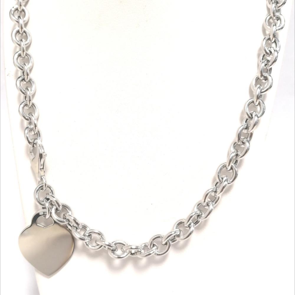 Collana argento rolò grande con ciondolo a cuore ag 925