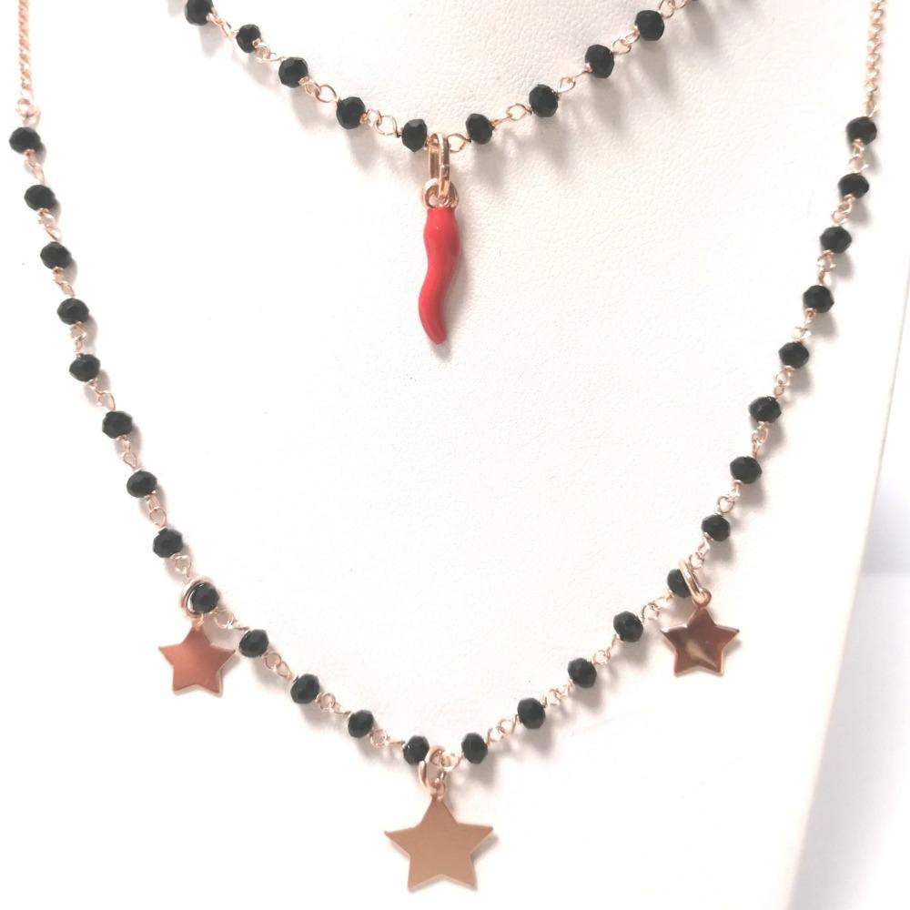 Collana rosa doppia con onici stelle e corno ag 925