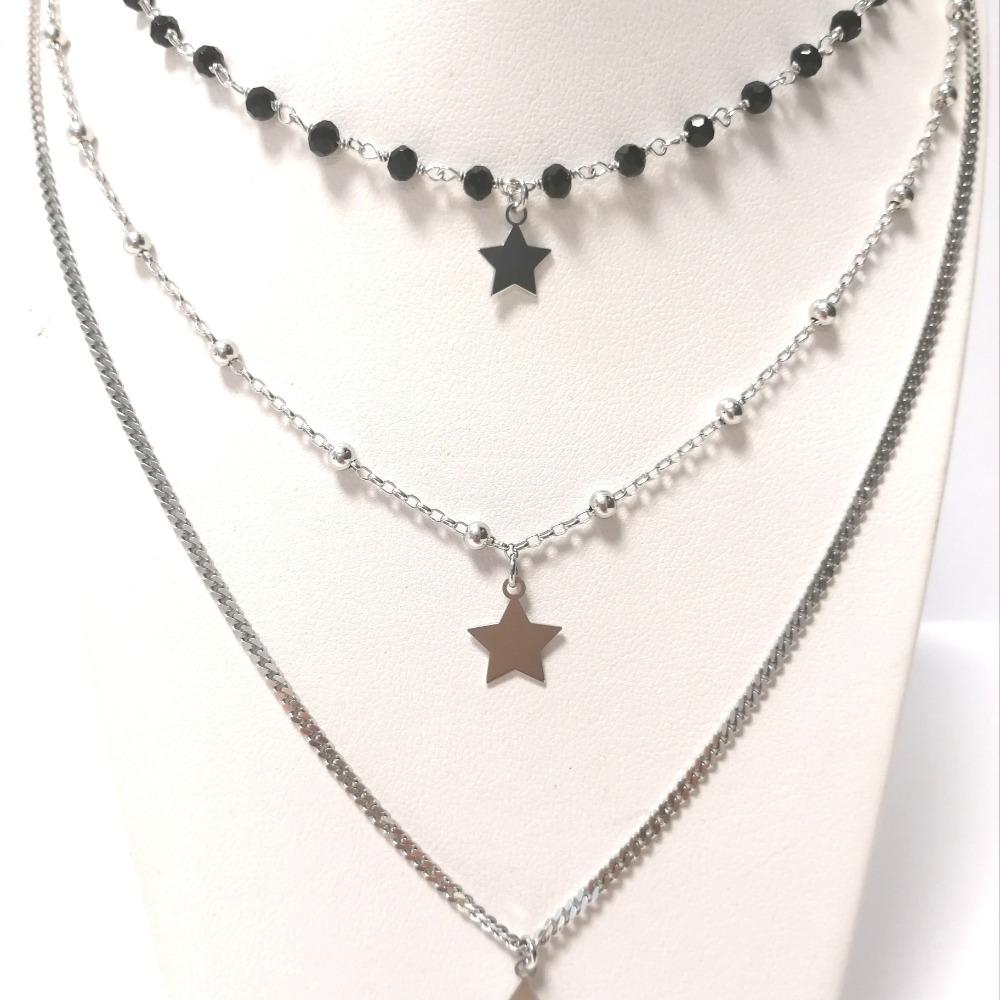 Collana argento tripla con onice neri e stelle ag 925
