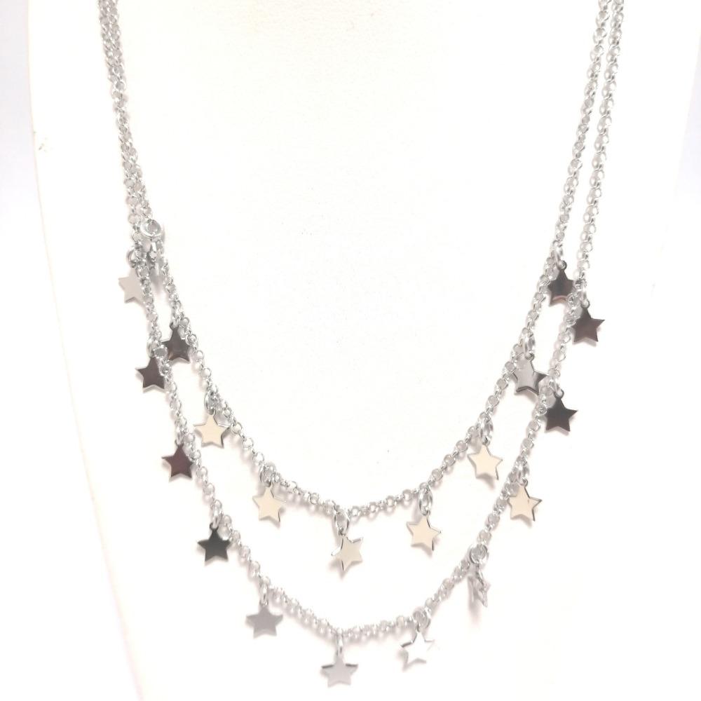 Collana argento doppia con stelle ag 925