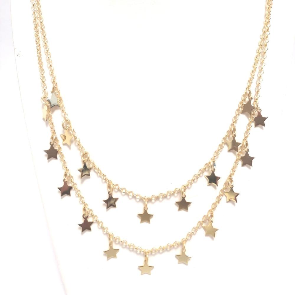 Collana oro doppia con stelle ag 925