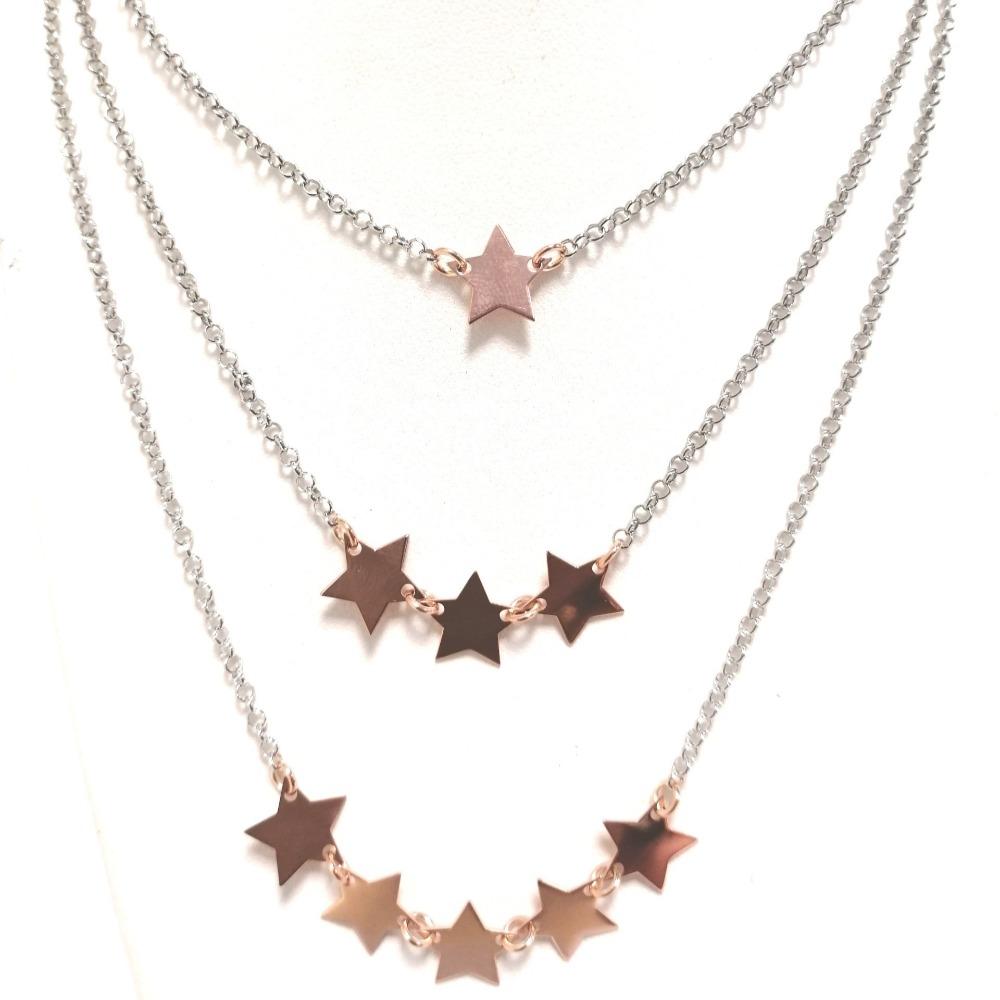 Collana argento tripla con stelle rosa ag 925