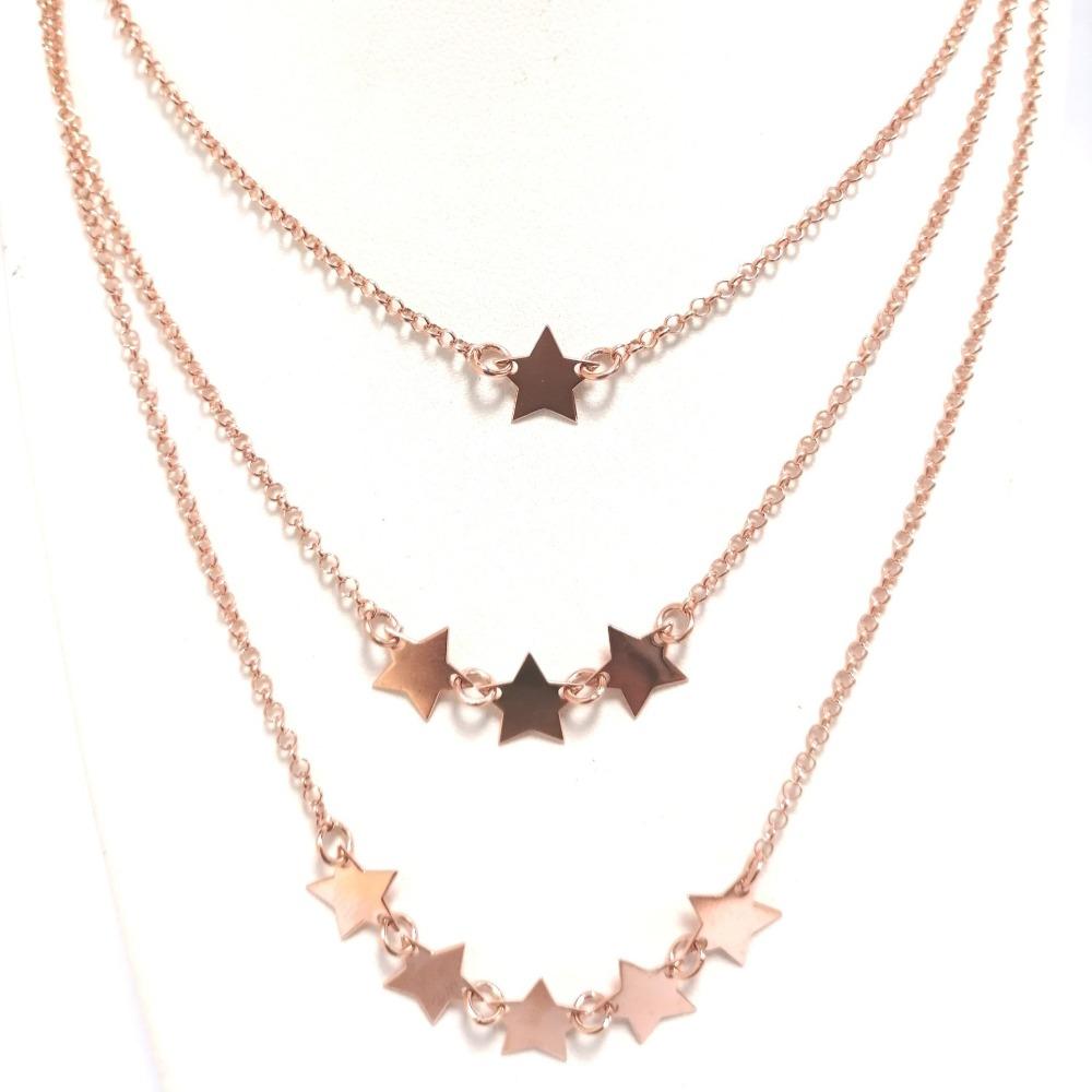 Collana rosa tripla con stelle ag 925