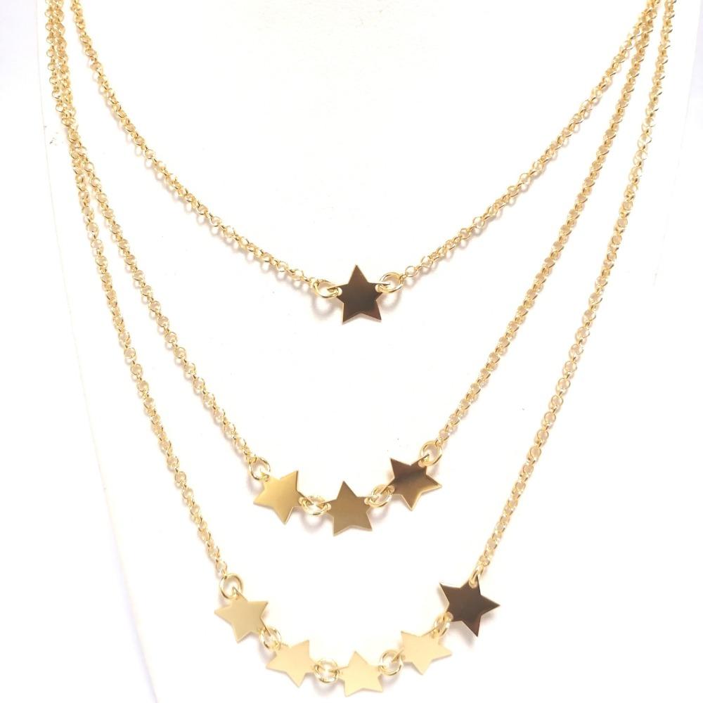 Collana oro tripla con stelle ag 925