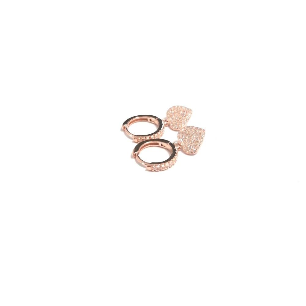 Orecchino cerchietto rosa con cuore pavè zirconi bianchi ag 925