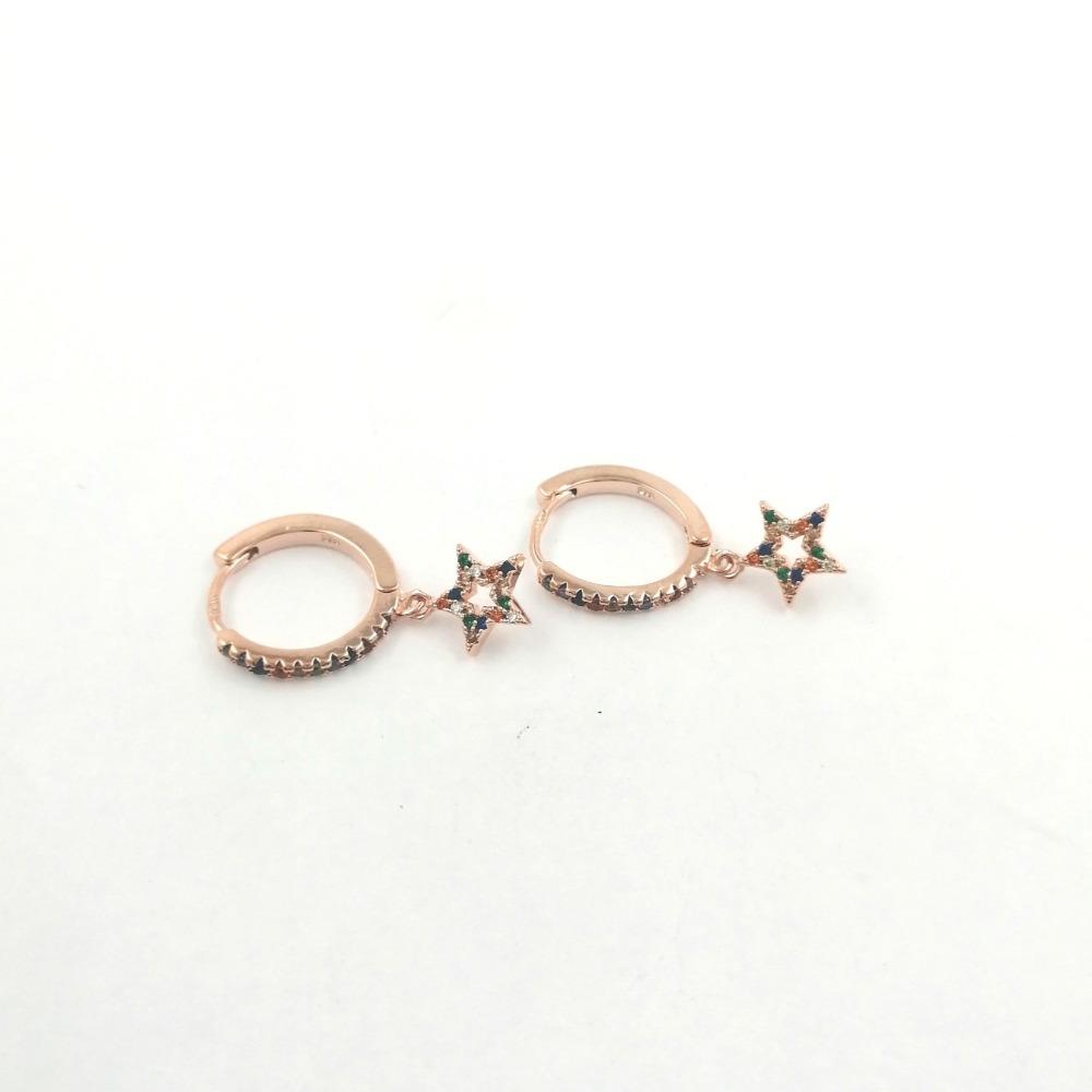 Orecchino cerchietto rosa con stelle e zirconi multicolr ag 925