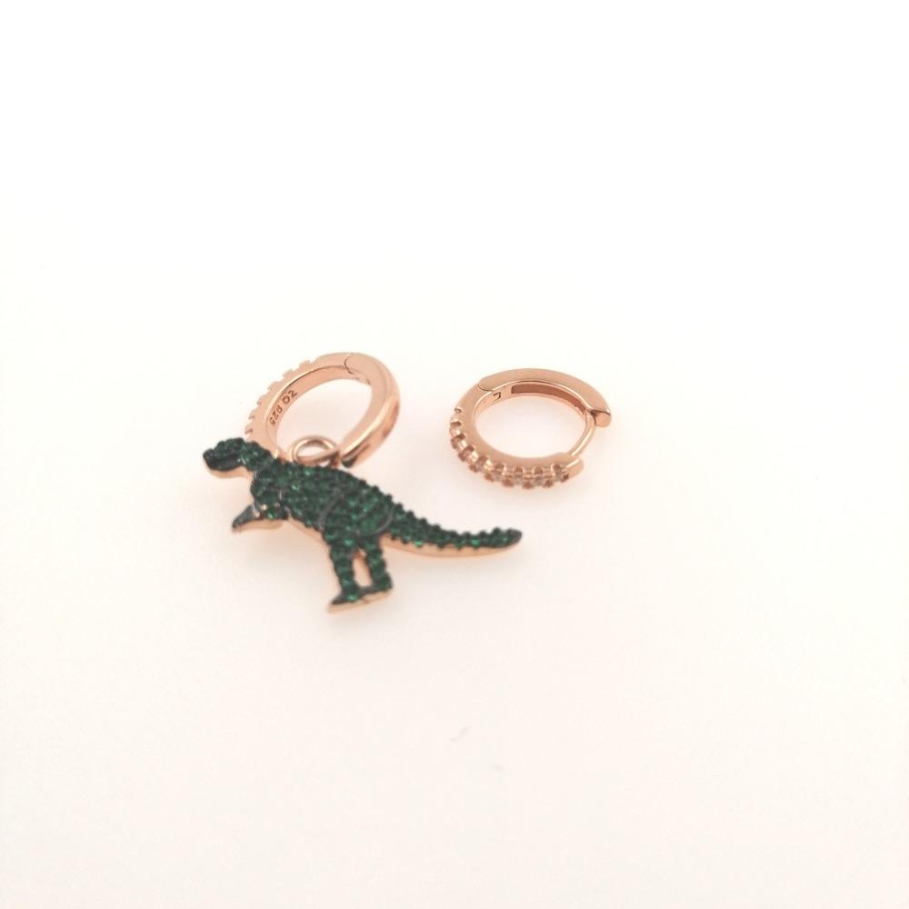 Mono orecchino rosa più cerchietto dinosauro ag 925