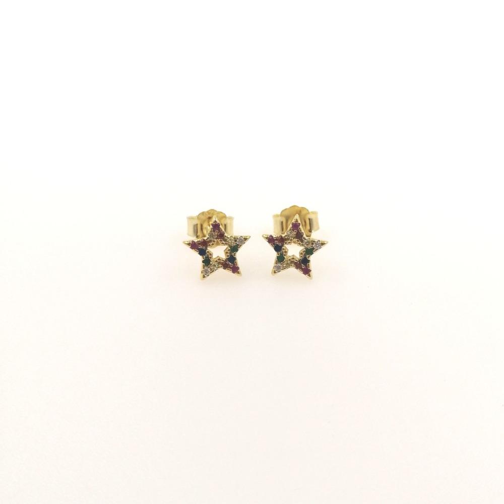 Orecchini oro lobo stella multicolor ag 925