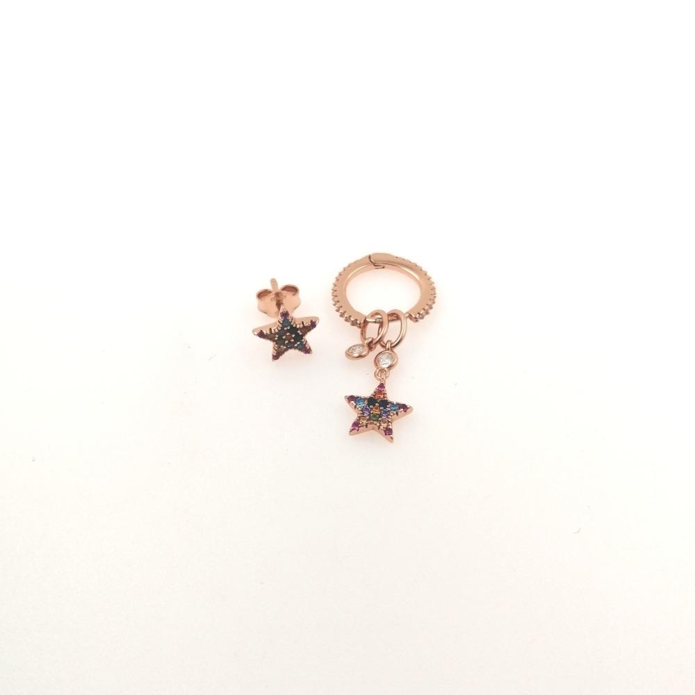 Orecchino rosa pendente e lobo con stella e zirconi multicolor ag 925