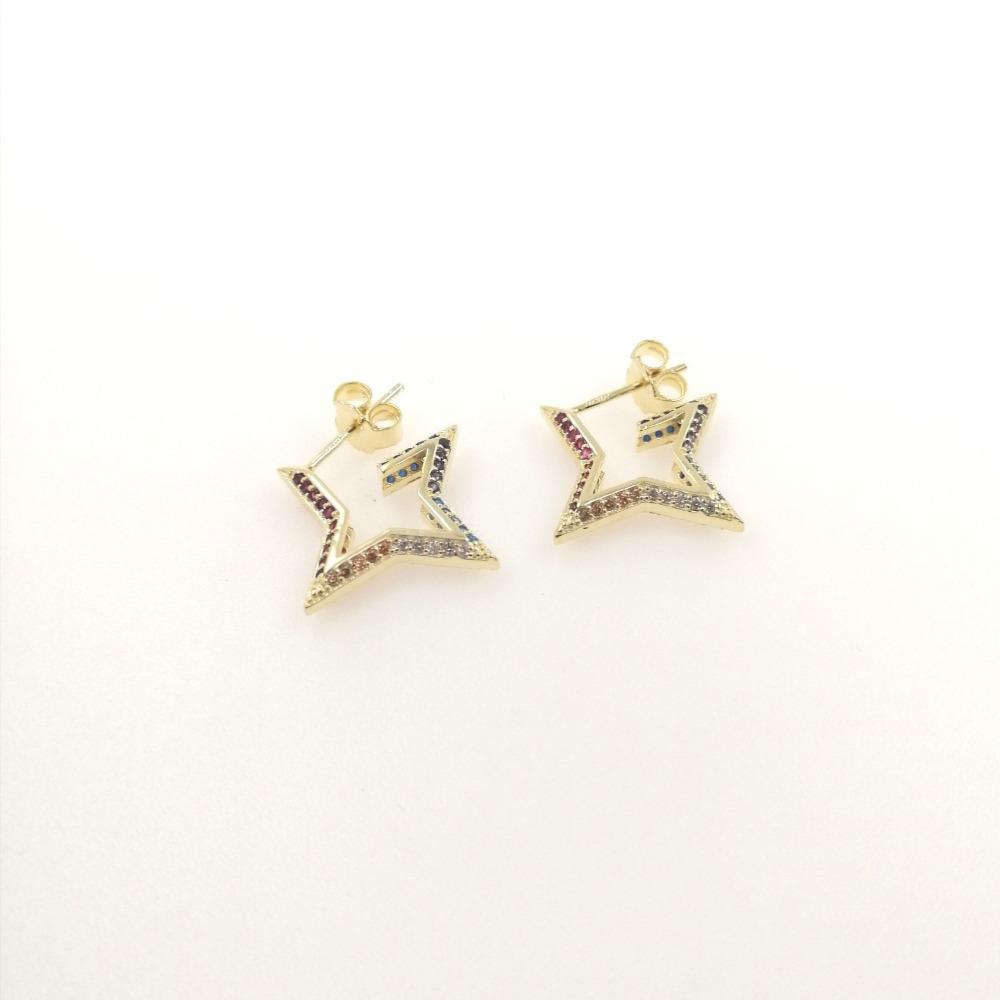 Orecchino oro big stella con zirconi multicolor ag 925