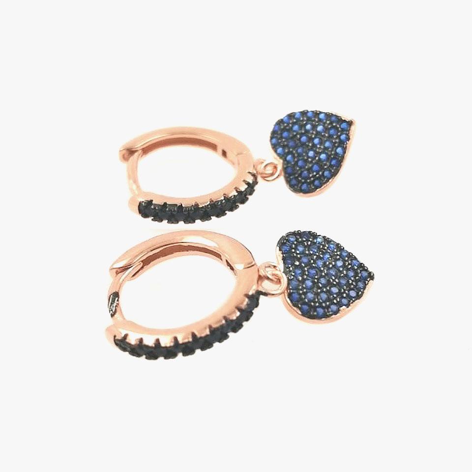 Orecchino cerchietto rosa con cuore pavè zirconi blu AG 925
