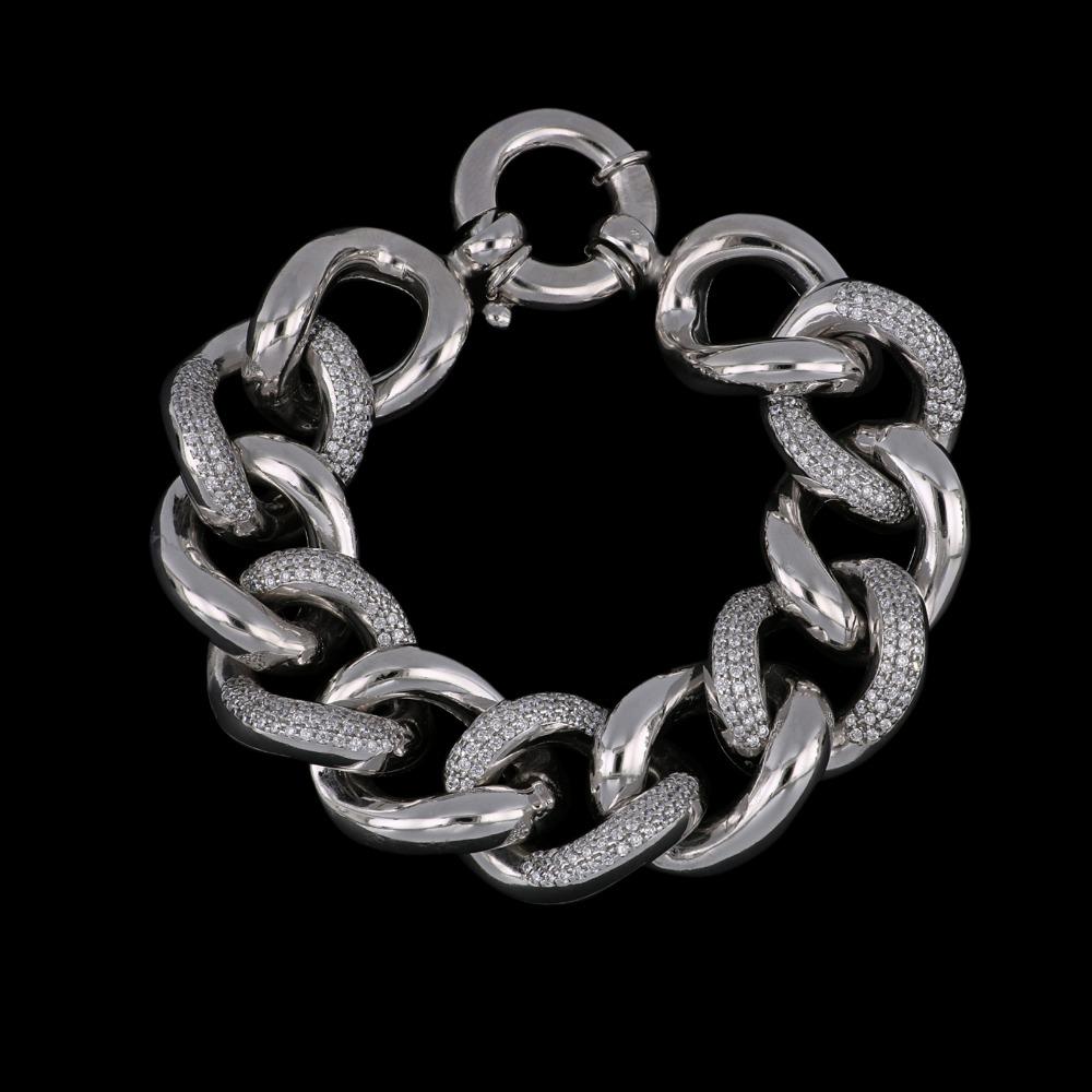 Bracciale in argento rodiato