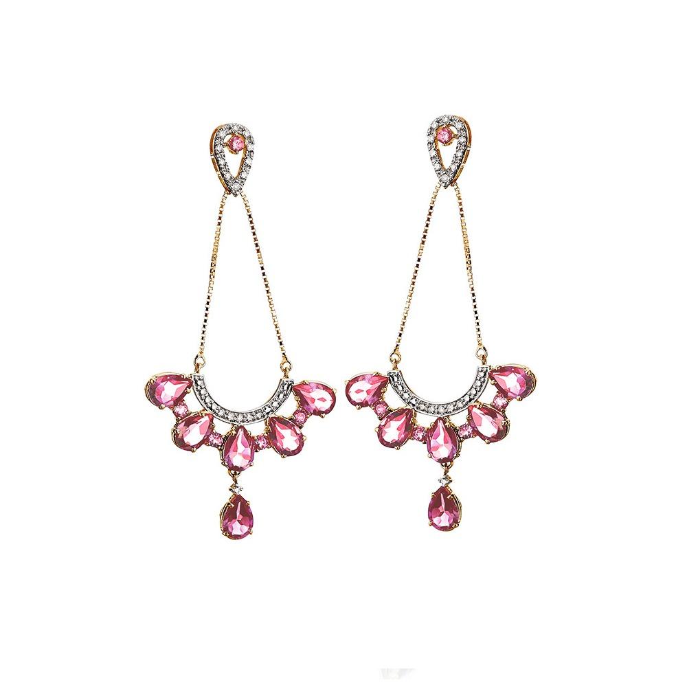 Brincos em Ouro Rosé 18 kt com Turmalinas Rosas e Brilhantes