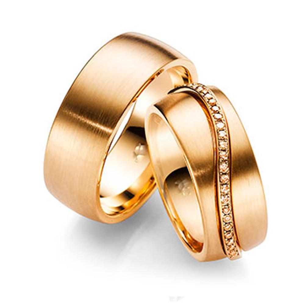 Alianças Anatômicas em Ouro Rosé 18 kt com Brilhantes