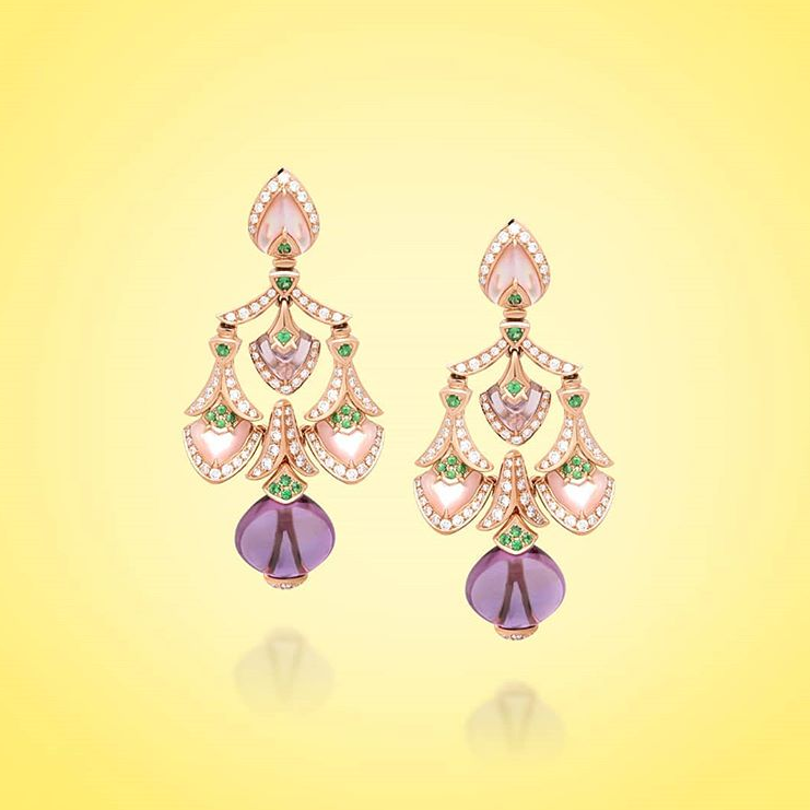 18K rose gold earring with color stones and diamond