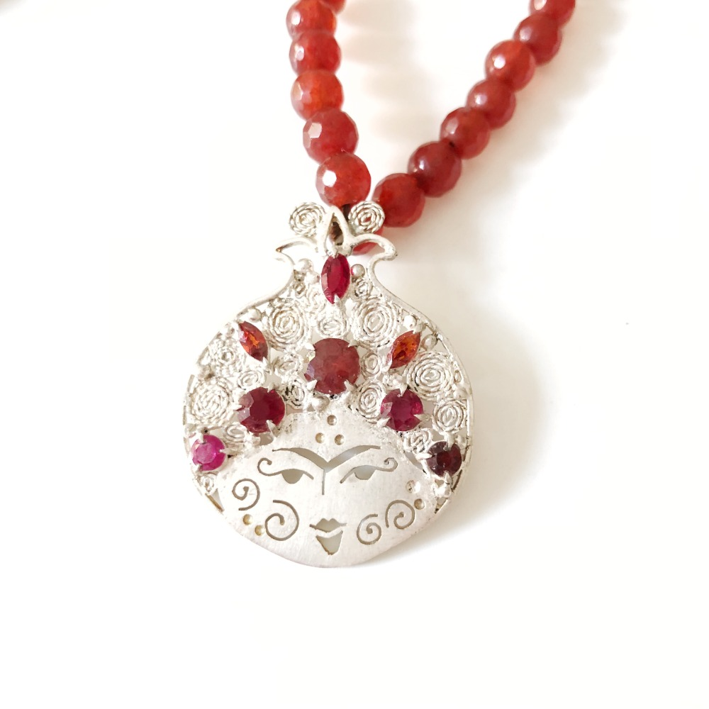 Lady Pomegranate Pendant in silver, ruby and red agate