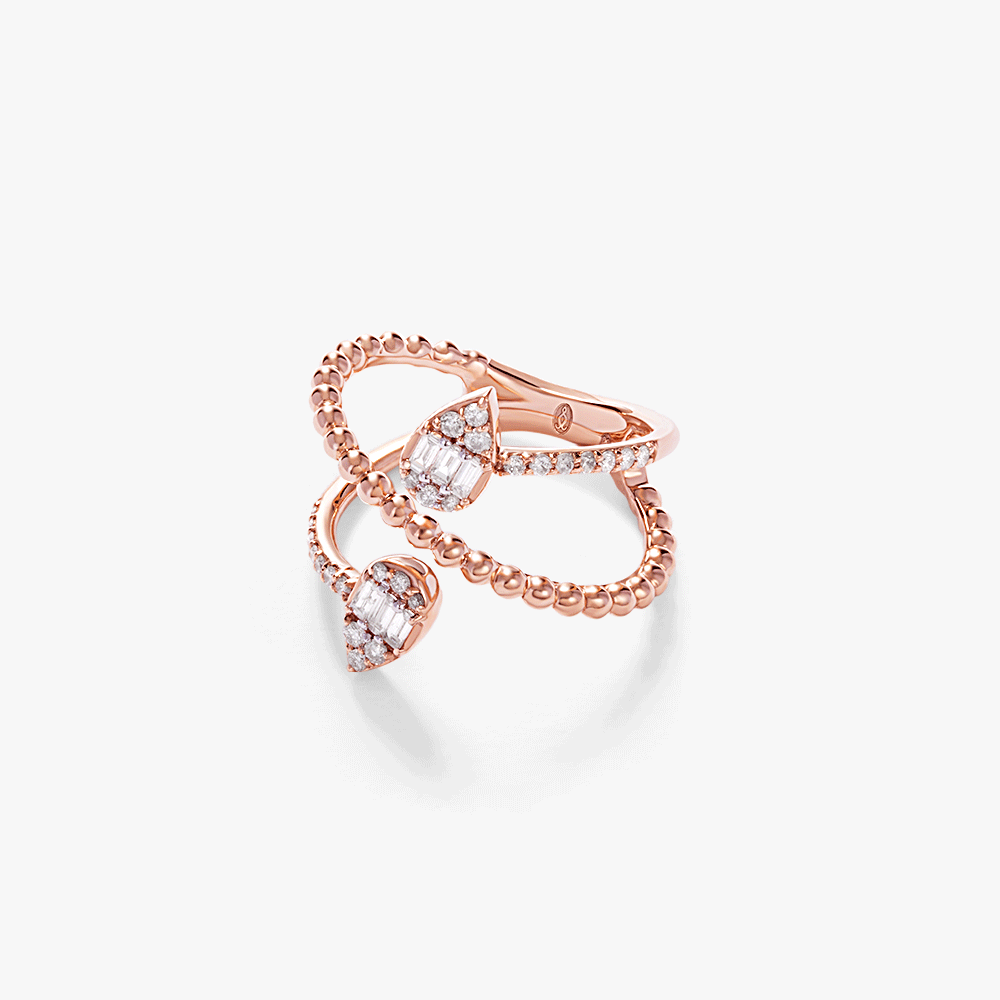 Oubharia essentia ring in 18k rose gold with diamonds