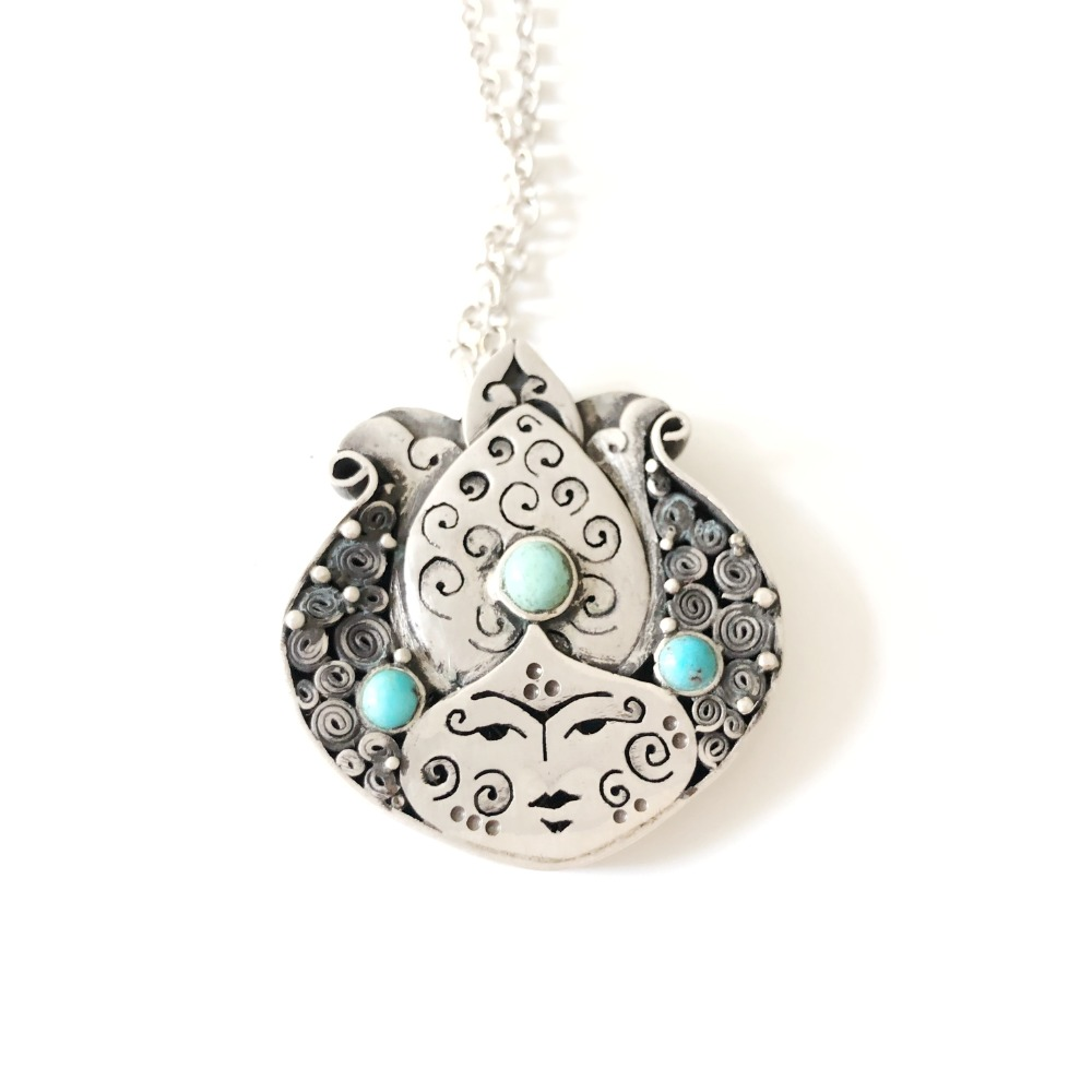 Lady Pomegranate Pendant in silver and turquoise