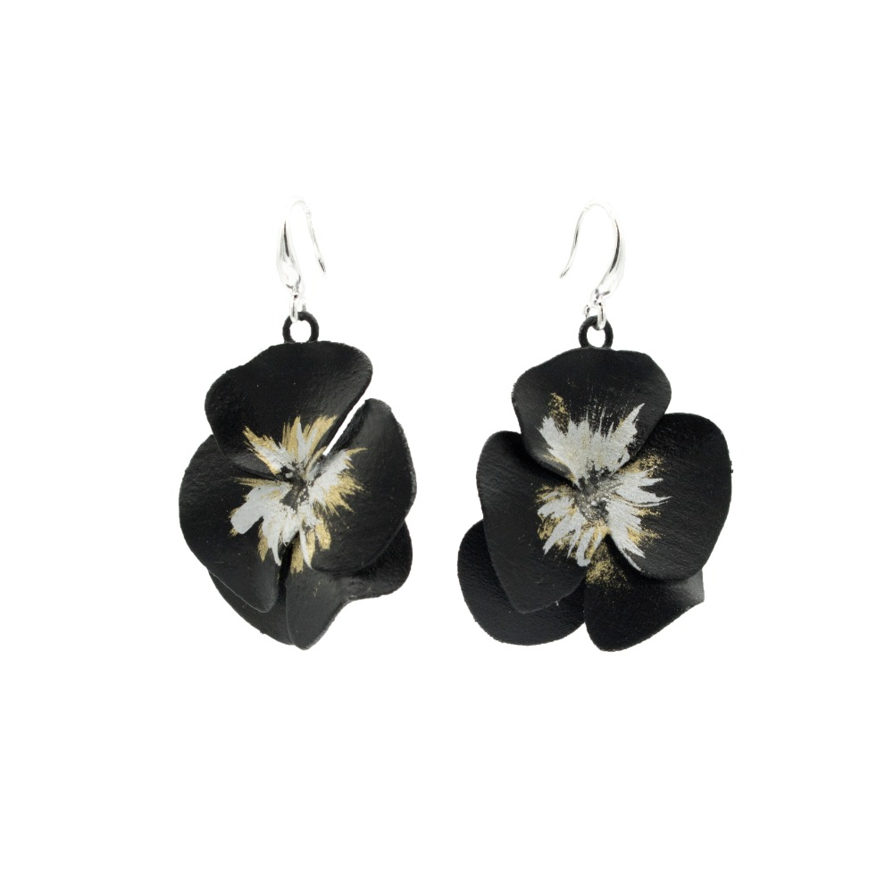 Hand Paint Black Violet earrings