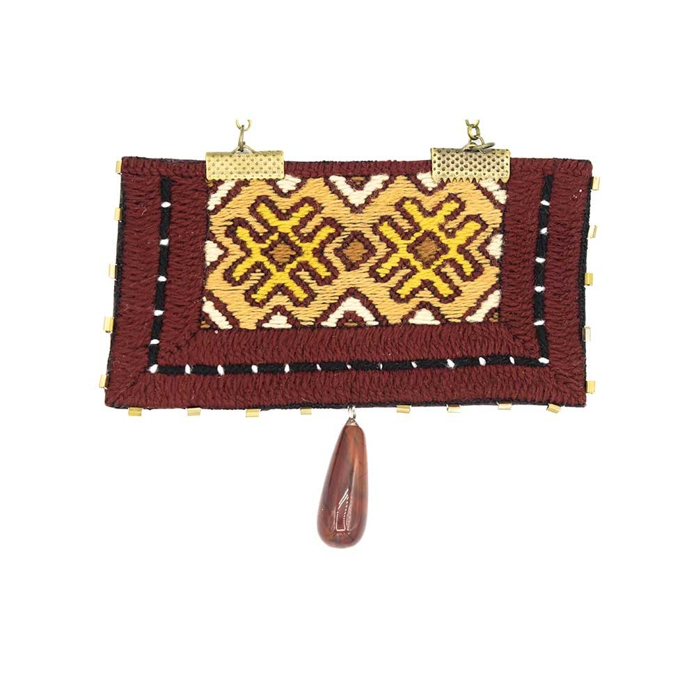 Brown Rectangle Embroidery Necklace