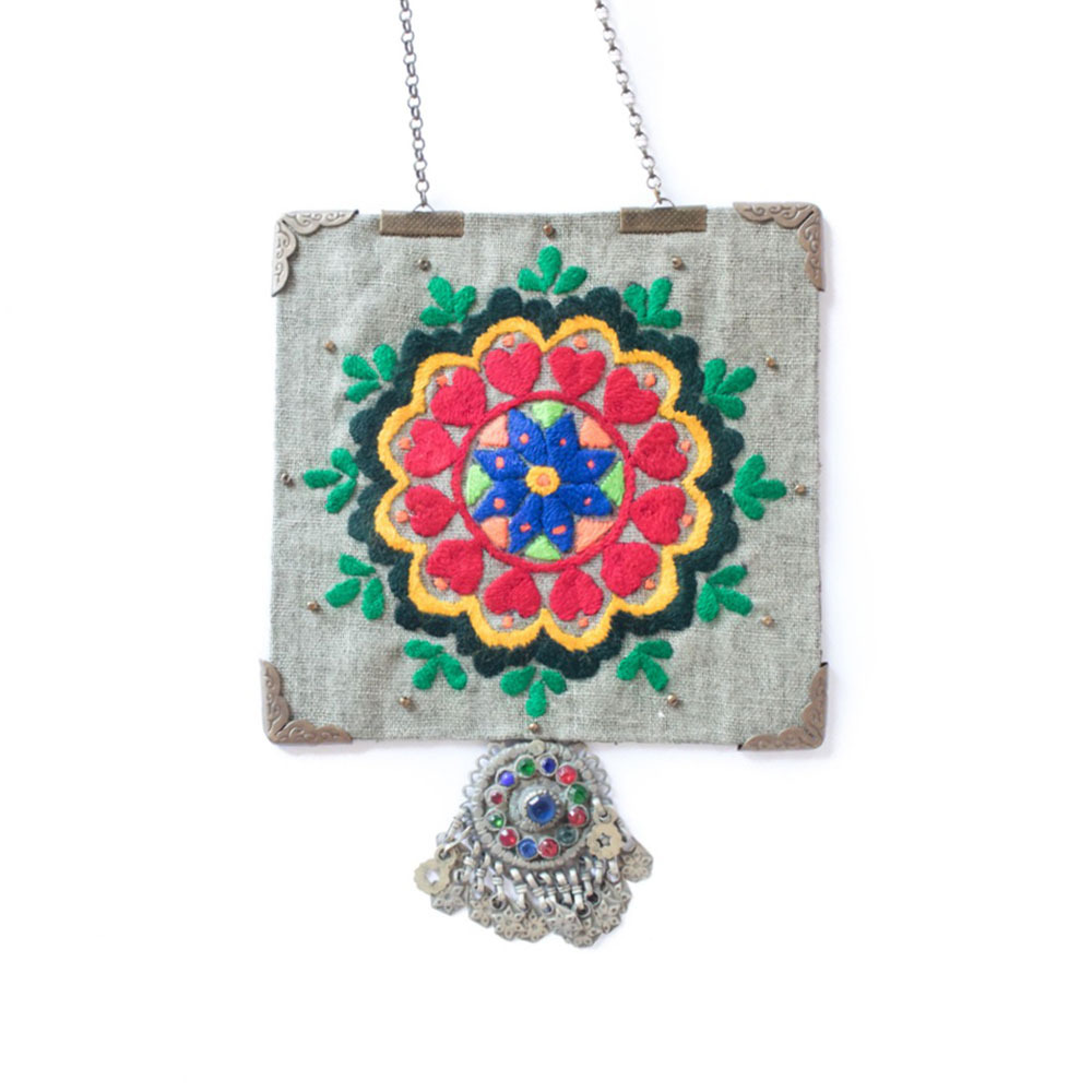 Big Flower Rectangle Embroidery Necklace