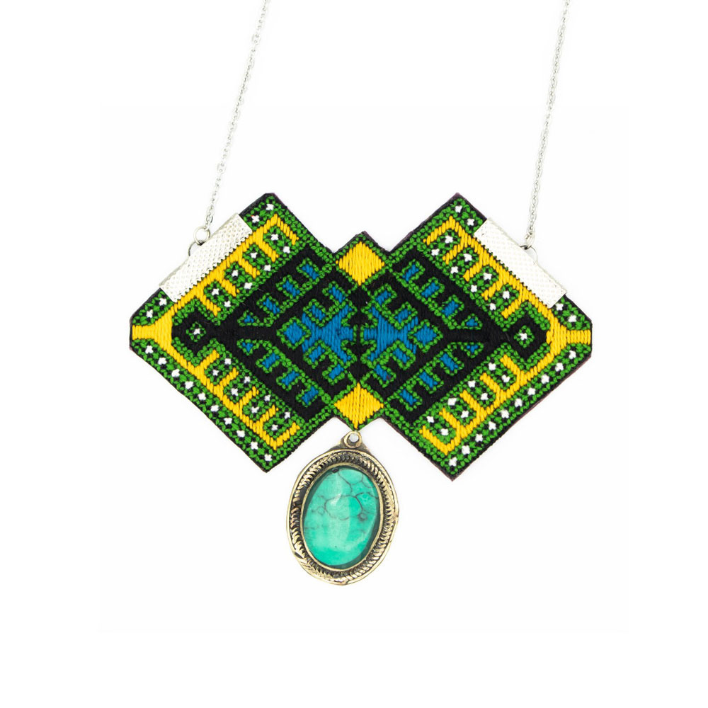 Green Balouch Embroidery Necklace