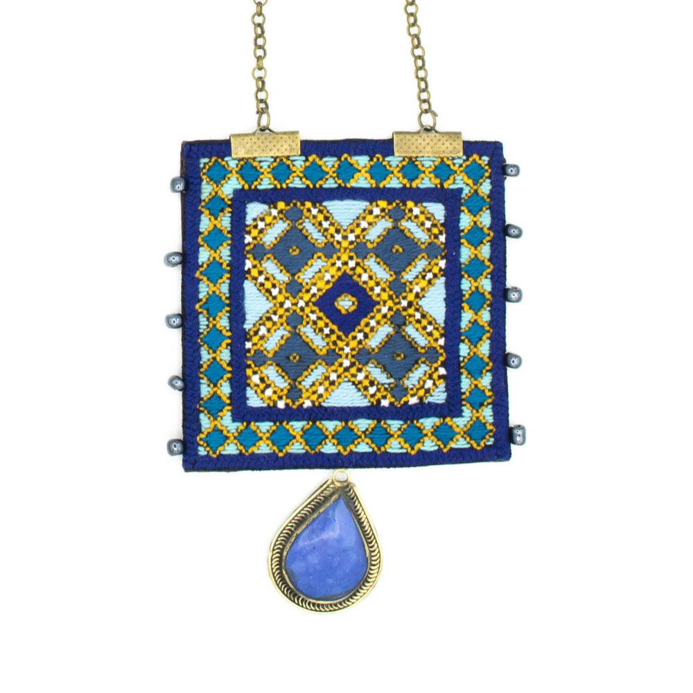 Blue Rectangle Embroidery Necklace