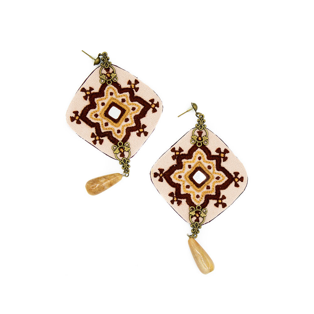 Pink and Bordeaux Embroidery Earrings