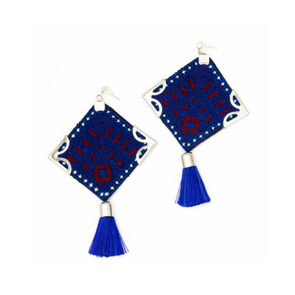 Dark Blue Embroidery Earrings