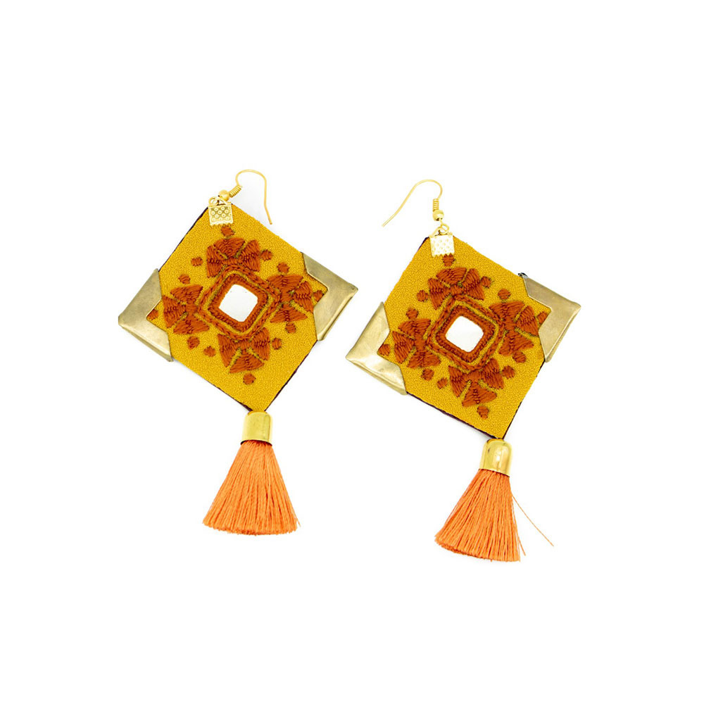 Orange & Yellow Embroidery Earrings