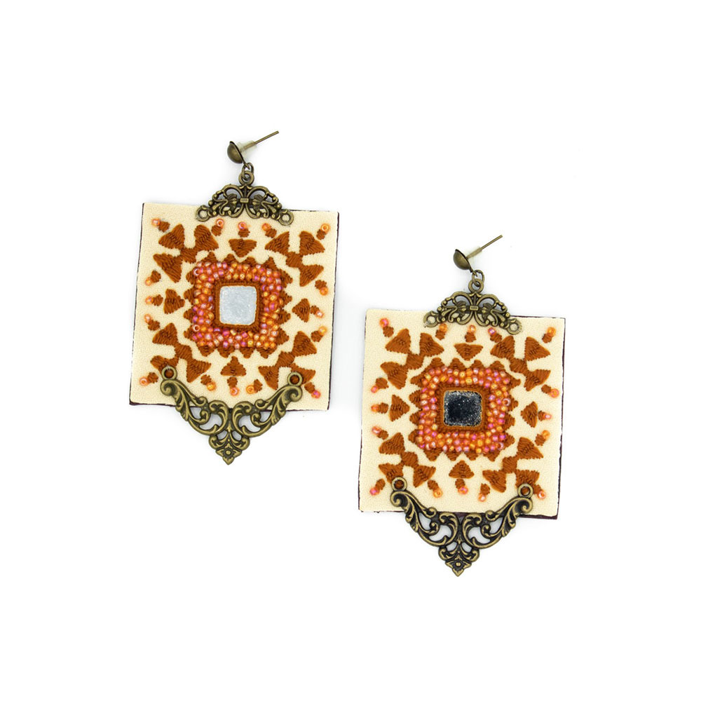 Yellow Square Embroidery Earrings