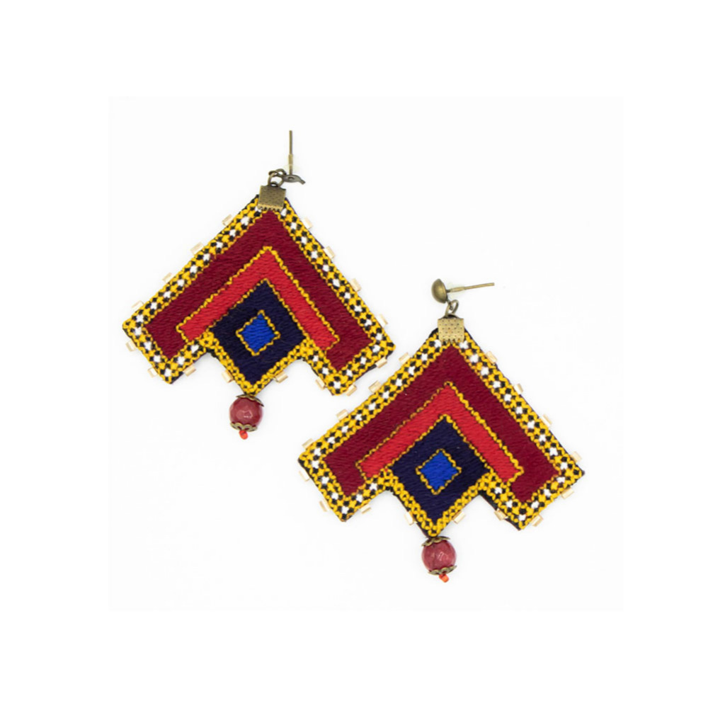 Colorful Triangle Embroidery Earrings